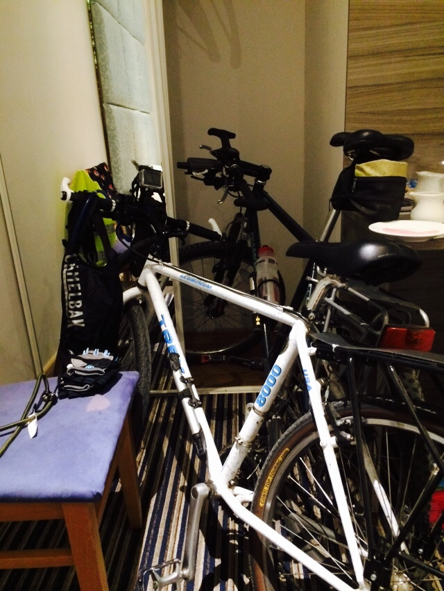 the room was so small the bikes had to go in the wardrobe....