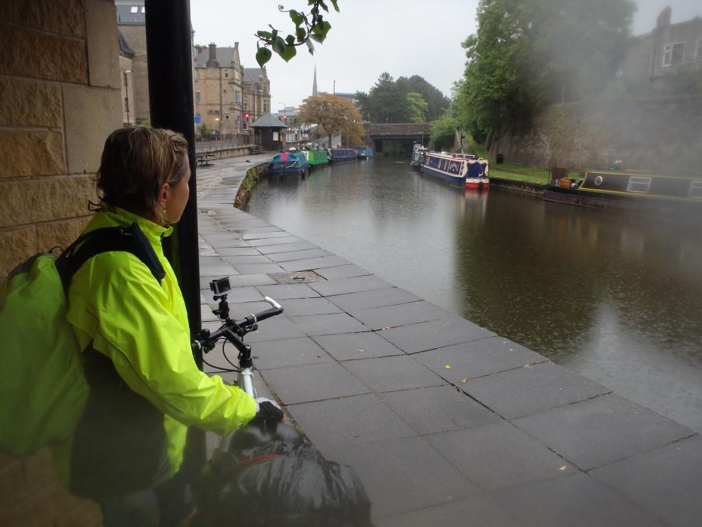 Sheltering in the door way of the waterways loo in Lancaster