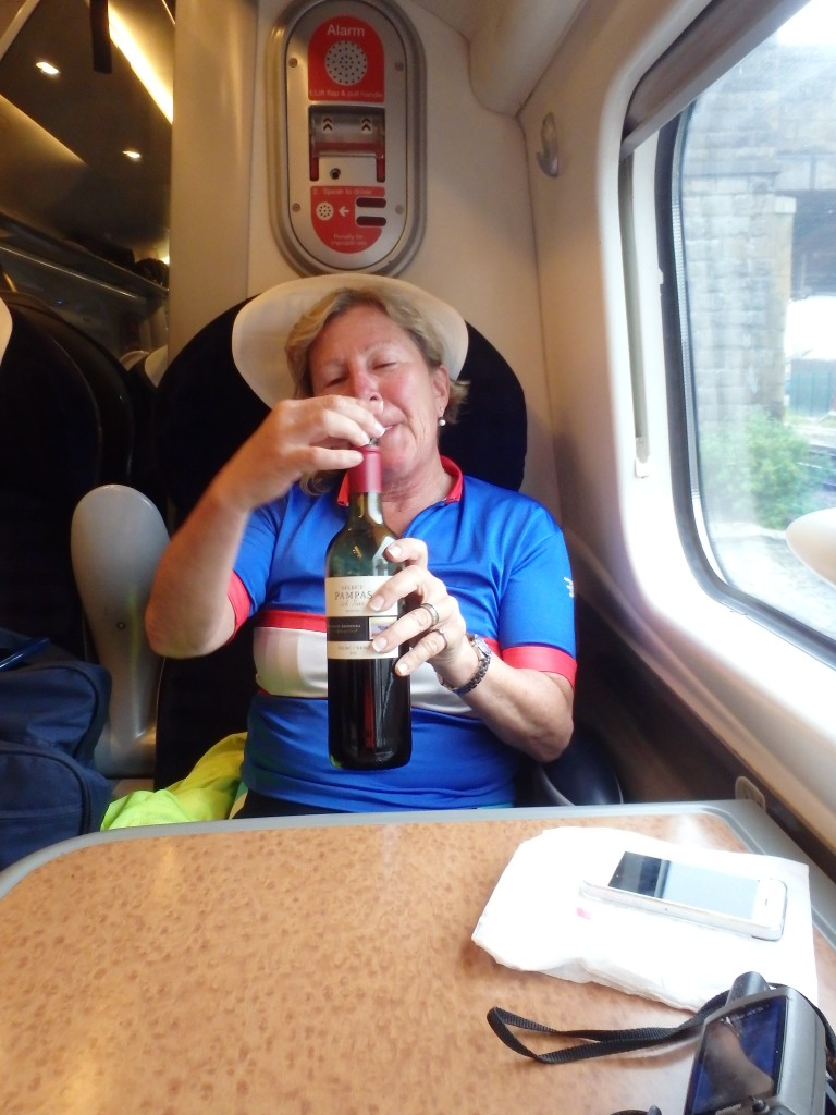 Susan sat on the train still in my old Farnham racing top... how did I ever fit into that?
