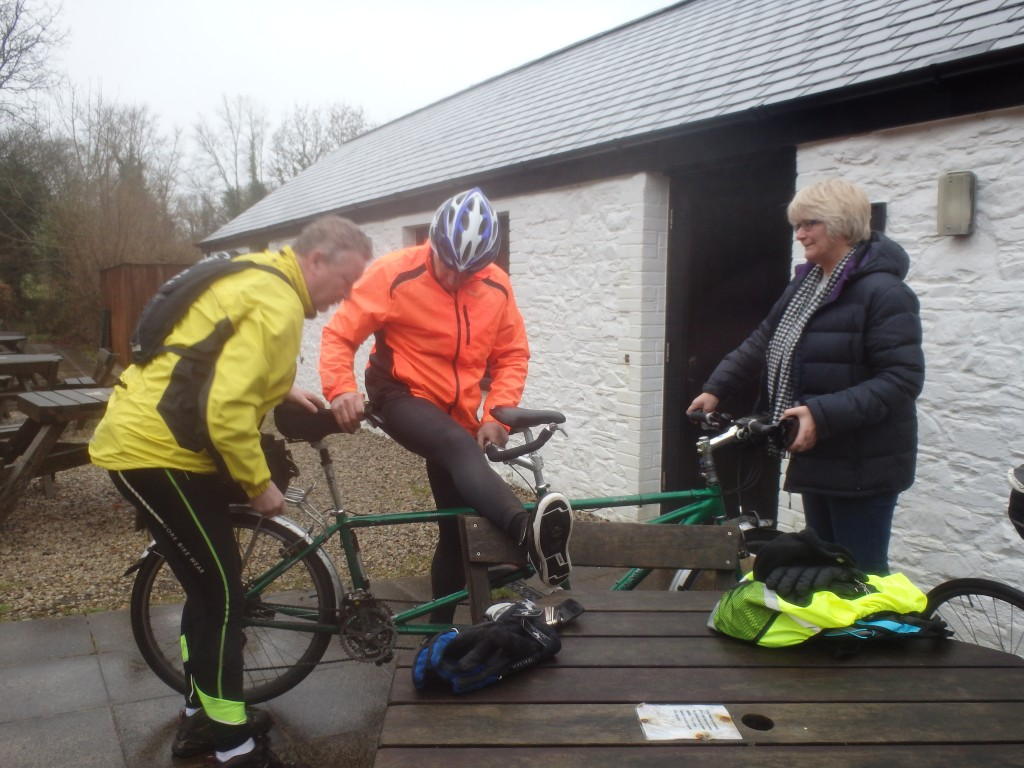 "Adjusting the tandem to ""fit"" Keith"